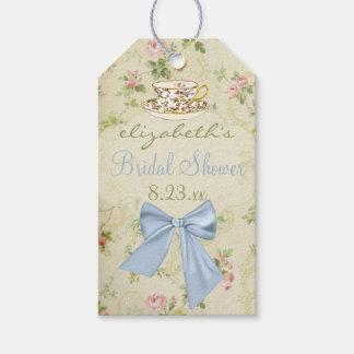 Vintage Floral with Teacup Blue Bridal Shower Gift Tags