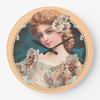 Vintage Floral Woman Large Clock