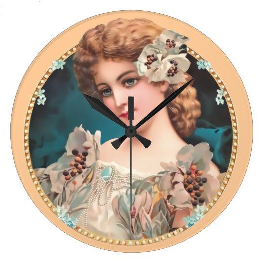Vintage Floral Woman Large Clock