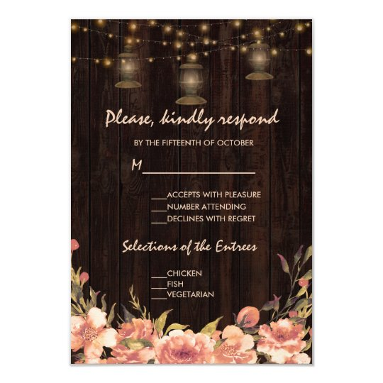 Vintage Floral Wood Old Lanterns Wedding RSVP Card