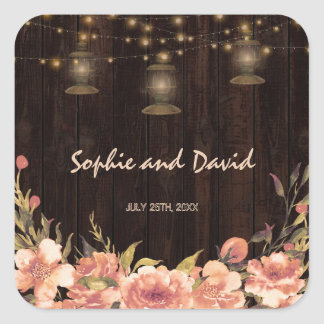 Vintage Floral Wood Old Lanterns Wedding Square Sticker