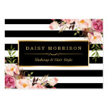 Vintage Floral Wrapping Around Black White Stripes Large Business Card