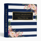 Vintage Floral Wrapping Gold Navy White Striped 3 Ring Binder