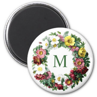 Vintage Floral Wreath Monogram Magnet