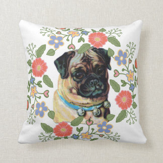 Vintage floral wreath pug rustic chic dog puppy throw pillow