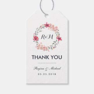 Vintage Floral Wreath Wedding Thank You Gift Tag Pack Of Gift Tags