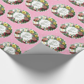 Vintage Floral Wreath with Pink Background Wrapping Paper