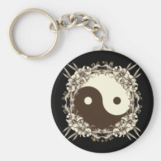 Vintage Floral Yin Yang Keychain