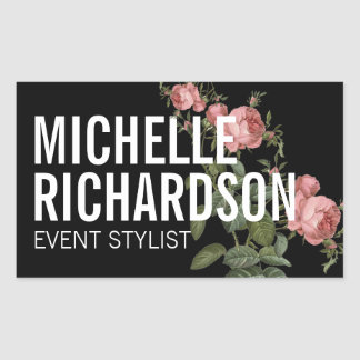 Vintage Florals Bold Text on Black Sticker