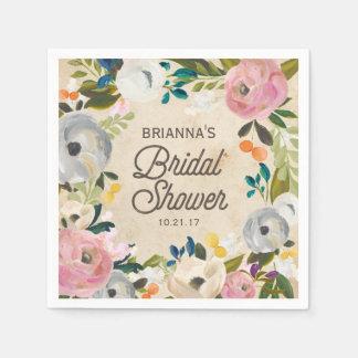 Vintage Florals | Bridal Shower Napkins Paper Napkins