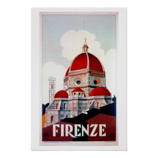 Vintage Florence Italian travel poster