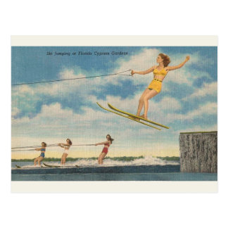 Vintage Florida Cypress Gardens Ski Jump Postcard