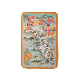 Vintage Florida Greeetings map of attractions Bath Mat
