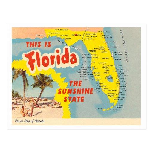 Vintage Florida Map Postcard