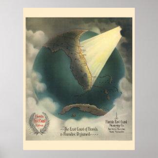 Vintage Florida Railway travel poster