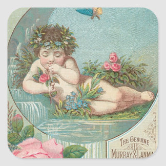 Vintage Florida Water Ad with Cherub 1888 Square Sticker