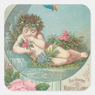 Vintage Florida Water Ad with Cherub 1888 Square Sticker