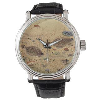 Vintage Flounders, Marine Ocean Life Flat Fish Wristwatch