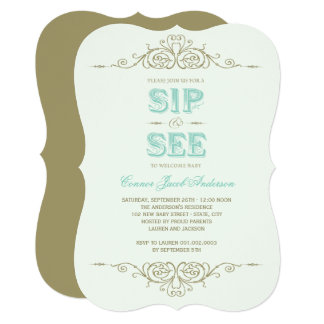 Vintage Flourish Elegant New Baby Boy Sip And See Card