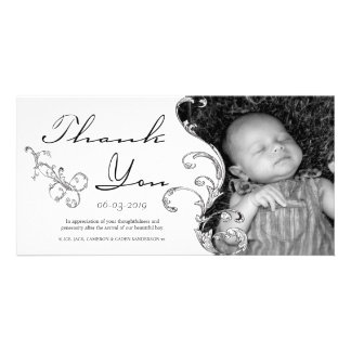 Vintage Flourish New Baby Thank You Card Picture Card