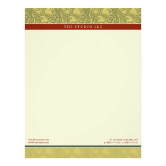 Vintage Flourish Olive Brick Customized Letterhead