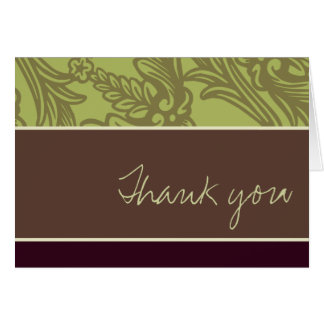 Vintage Flourish Olive Plum Thank You Card