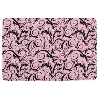 VINTAGE FLOURISH PATTERN, Pink & Black Floor Mat