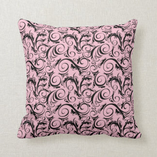 VINTAGE FLOURISH PATTERN, Pink & Black Throw Pillow