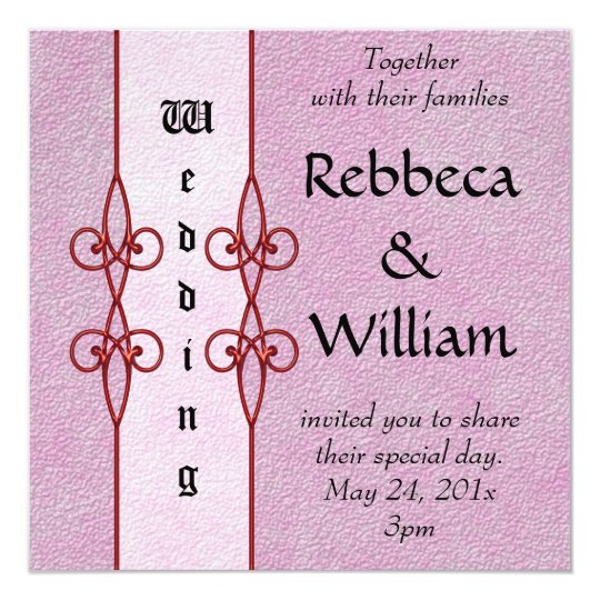 Vintage Flourish Pink Wedding Card
