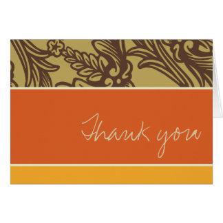 Vintage Flourish Tangerine Thank You Card