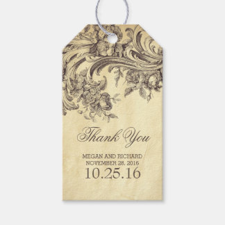 Vintage Flourishes Chic Wedding Thank You Pack Of Gift Tags