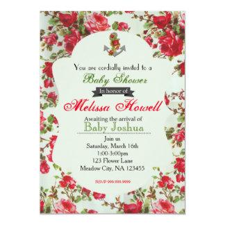 Vintage Flower Baby Shower or Birthday Invitation