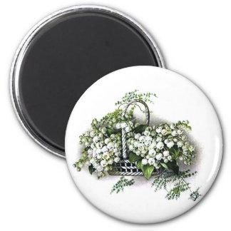Vintage Flower Basket 2 Inch Round Magnet