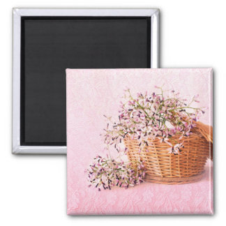 Vintage Flower Basket Square Magnet