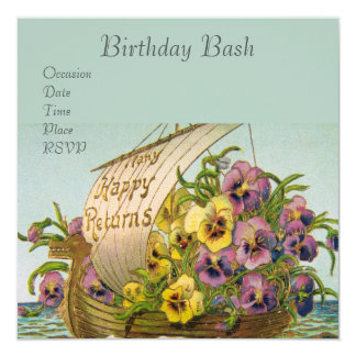 Vintage Flower Boat Card