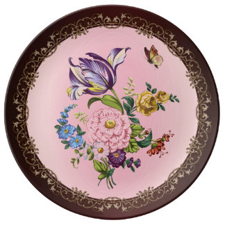 Vintage Flower Bouquet Decorative Porcelain Plate