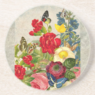 Vintage Flower Bouquet with Butterflies Beverage Coaster
