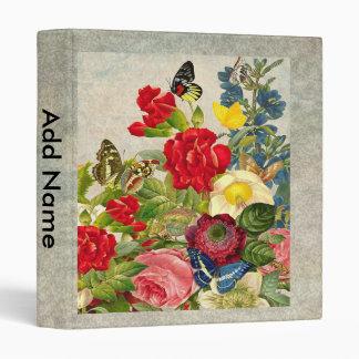 Vintage Flower Bouquet with Butterflies Vinyl Binder