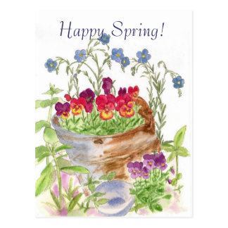Vintage Flower Bucket Bouquet Happy Spring Postcard