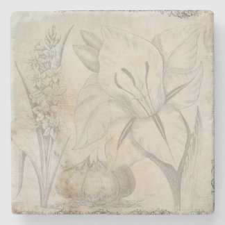 Vintage Flower Design Picture Stone Coaster