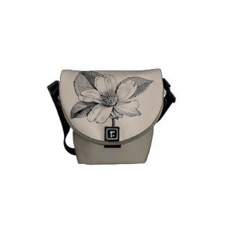 Vintage Flower Engraving/Graphic Courier Bag