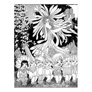 Vintage Flower Fairies and Children Postcard