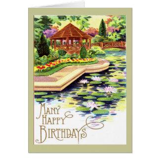 Vintage Flower Garden Birthday Card