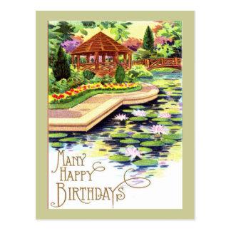 Vintage Flower Garden Birthday Postcard