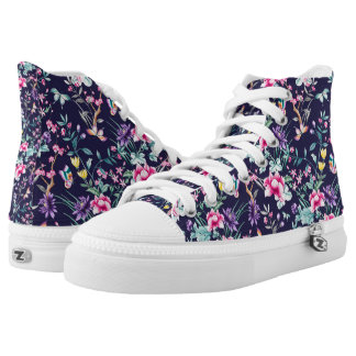 Vintage Flower Garden Rainbow Butterfly Blue High Tops