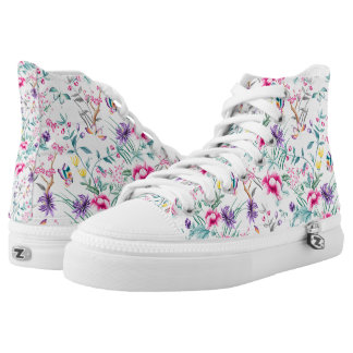 Vintage Flower Garden Rainbow Butterfly White High Tops