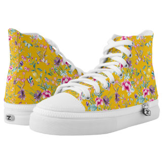 Vintage Flower Garden Rainbow Butterfly YELLOW High Tops