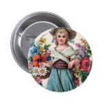 *Vintage Flower Girl* Pinback Button