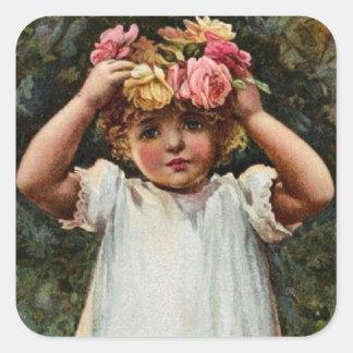 Vintage Flower Girl Wearing Wreath Sticker