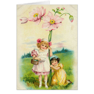 Vintage Flower Girls Card